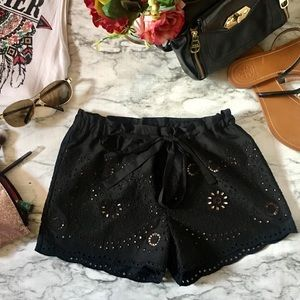 BCBG Max Azria Black Eyelet Lace Shorts